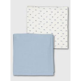 Blue & Cream Dinosaur Muslin Squares 2 Pack - One Size