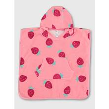 Pink Strawberry Hooded Baby Poncho Towel - One Size