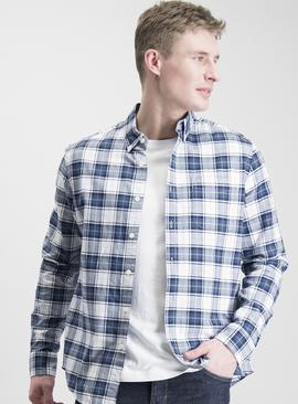Navy & White Casual Oxford Check Regular Fit Shirt