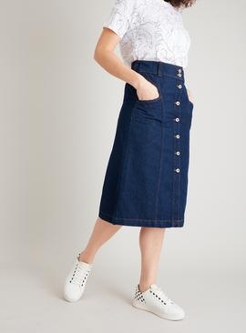 Dark Denim Panelled Pencil Skirt With Stretch