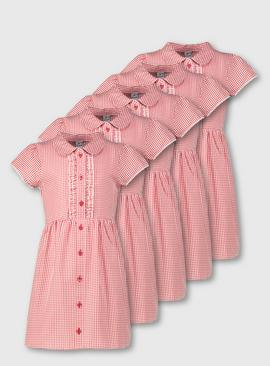 Red Classic Gingham School Dress 5 Pack