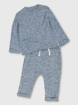 Blue Soft Knit Jumper & Jogger Set