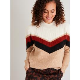 Chevron Colour Block Knitted High Neck Jumper