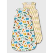 Multicoloured Safari Animal & Zig Zag Sleeping Bag 2 Pack