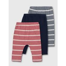 Red & Navy Stripe & Plain Leggings 3 Pack