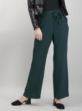 Red Washed Twill Wide Leg Trousers
