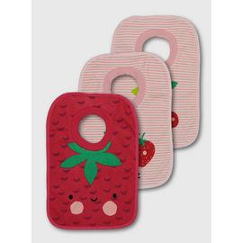 Pink & Red Fruity Pop Over Bib 3 Pack - One Size