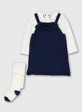 Navy Pinafore With Bodysuit & Tights