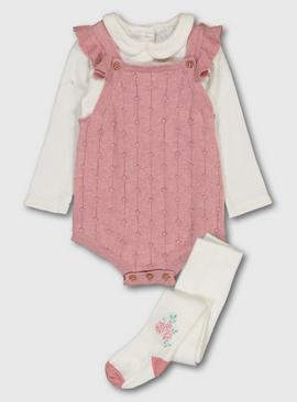 Rose Pink Marl Knitted Romper, Cream Bodysuit & Tights
