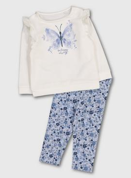 Cream Top & Blue Floral Leggings