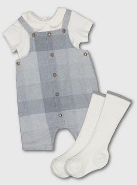 Grey Check Bibshorts, Cream Bodysuit & Socks