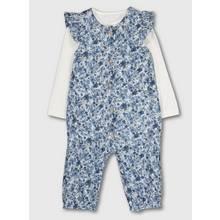 Blue Floral Print Romper & Bodysuit