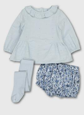 Blue Woven Top, Bloomers & Tights Set