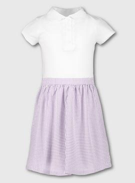 Navy Blue Gingham School T-Shirt Dress
