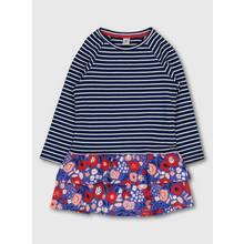 Navy Blue Stripe Floral Frill Hem Dress