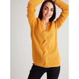 Dark Yellow Cable Front Longline V-Neck Jumper