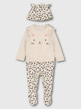 Pale Beige Cat Sleepsuit & Hat