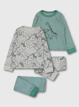 Green Stripe & Grey Safari Print Pyjamas 2 Pack