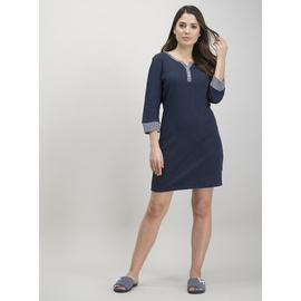 Navy Dotted & Striped Long Sleeve Nightdress