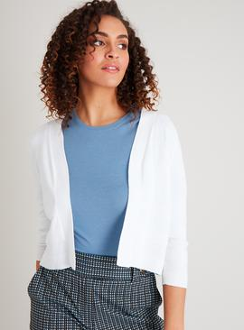 White Stripe Texture Cropped Cardigan