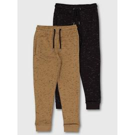 Black & Brown Cotton Joggers 2 Pack