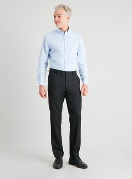 Black Gaberdine Tailored Fit Trousers