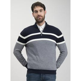 Navy Long Sleeve Half Zip Nautical Stripe Jumper