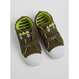 Khaki Green Monster Twin Strap Canvas Trainers