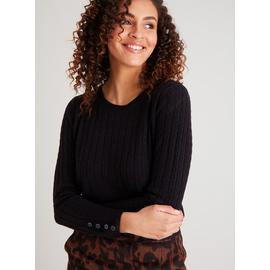 Black Soft Touch Mini Cable Knit Jumper