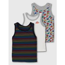 Dinosaur Print & Stripe Vests 3 Pack