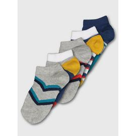 Grey Chevron & Stripe Trainer Socks 2 Pack
