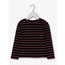Black Rib With Neon Pink Stripe Top