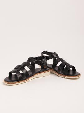 Black Faux Leather Gladiator Sandals