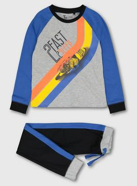Blue & Black '2 Fast 2 Sleep' Jersey Pyjamas