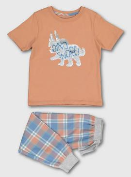 'Dino-Snore' Orange Sequin Dinosaur Pyjamas