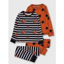 Orange & Navy Stars 'N' Stripes Pyjamas 2 Pack