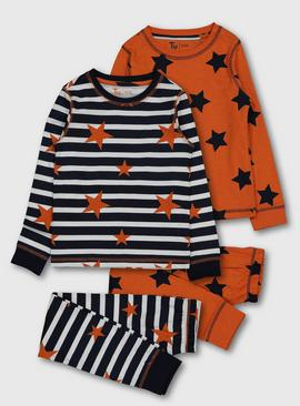 Orange & Navy Stars 'N' Stripes Pyjamas 2 Pack