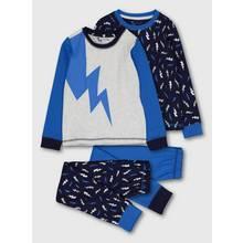 Blue Lightning Bolt Snuggle Fit Pyjamas 2 Pack