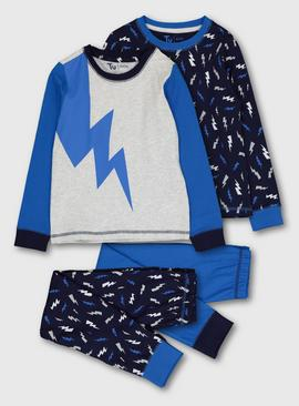 Blue Lightning Bolt Snuggle Fit Pyjamas 2 Pack