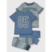 Blue Collegiate Stripe Pyjama 2 Pack