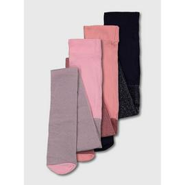 Pink, Rose & Navy Glitter Opaque Tights 3 Pack