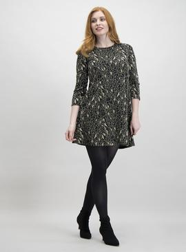 Online Exclusive Black Sparkle Jacquard Swing Dress