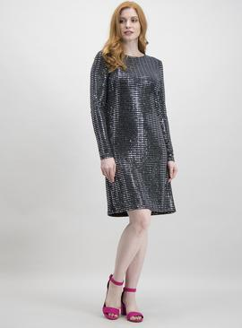 Online Exclusive Black Sequin Jersey Shift Dress