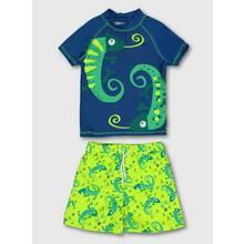 Blue & Green Iguana Rash Vest & Swim Shorts