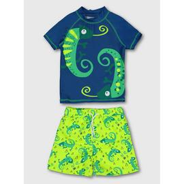 Blue & Green Iguana Rash Vest & Swim Shorts