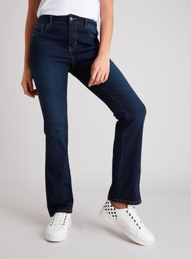 Dark Denim Bootcut Denim Jeans With Stretch