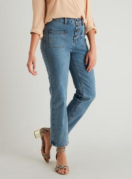 Mid Wash Patch Pocket Vintage Straight Leg Fashion Jeans