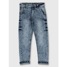Blue Denim Carrot Fit Jeans With Stretch