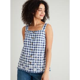 Navy Gingham Camisole Top