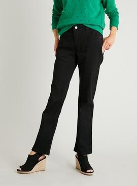 PETITE Black Straight Leg Jeans With Stretch